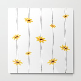 Simple Sunflower String Metal Print