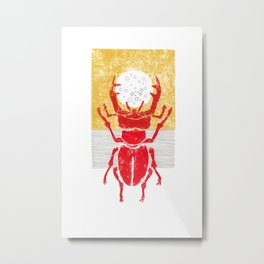 Red stag facing a golden sky Metal Print