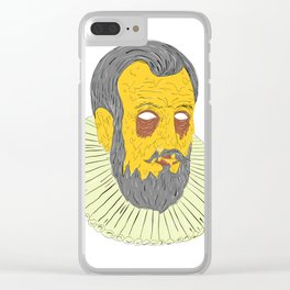 Nobleman Wearing Ruff Collar Grime Art Clear iPhone Case