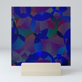 Abstract soap from space blue and green dim circles and bubbles on a gloomy background. Mini Art Print