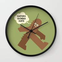 bigfoot Wall Clocks featuring Bigfoot Has So Many Haters by David Olenick