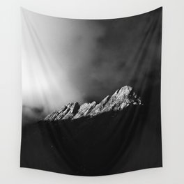Last sun rays on the mountain in black and white Wall Tapestry