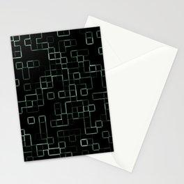 Green neon mosaic technology pattern Stationery Cards