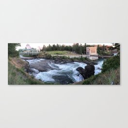 Spokane River Panoramic Falls Canvas Print