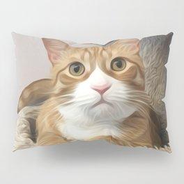 Orange cat oil finish Pillow Sham