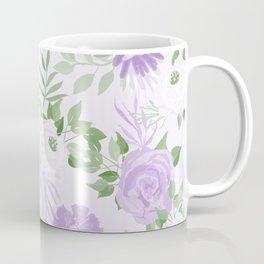 Vintage Purple Flowers Painted Watercolour Garden Pattern Coffee Mug