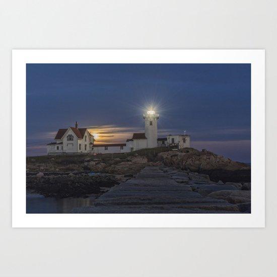 Full moon rising over Eastern point Lighthouse. Art Print