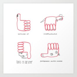 Thumbs Up Down Left Right Art Print
