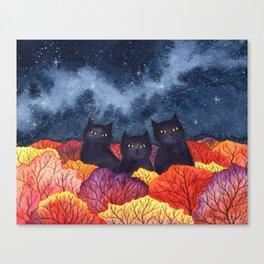 Three Black Cats in Autumn Watercolor Canvas Print