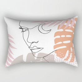 Jungle Line Girl Rectangular Pillow