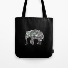 Sparkly colourful silver mosaic Elephant Tote Bag