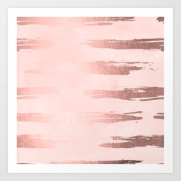 Rosegold Pink Stripes II Art Print