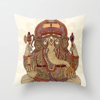 ganesha Throw Pillows featuring Ganesha: Lord of Success by Valentina Harper