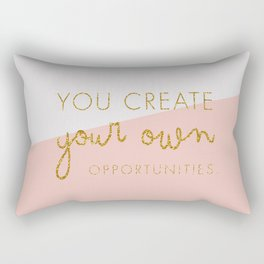 You create your own Opportunities quote in glitter gold Rectangular Pillow