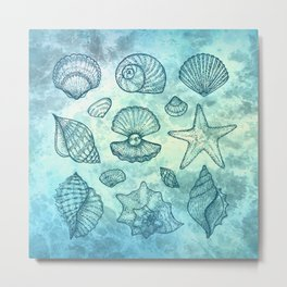 Blue Seashells Metal Print