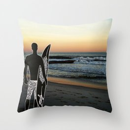Surfer at Sunset Throw Pillow