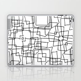 Decorative black and white abstract squares Laptop & iPad Skin