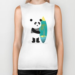 Surf along with the panda. Biker Tank