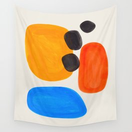 Minimalist Modern Mid Century Colorful Abstract Shapes Primary Colors Yellow Orange Blue Bubbles Wall Tapestry