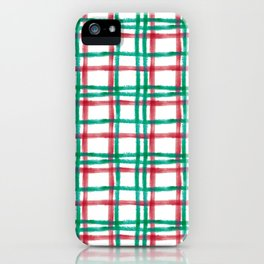 Stripy Lines Hand painted Watercolor Classic Xmas Winter Pattern iPhone Case