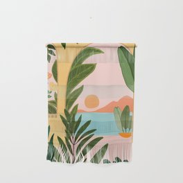 Moroccan Coast - Tropical Sunset Scene Wall Hanging