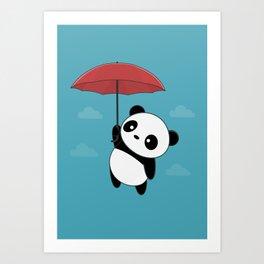 Kawaii Cute Panda With Umbrella Art Print