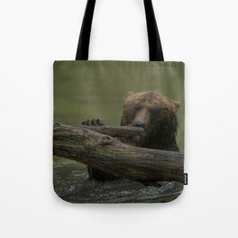 Wet Grizzly Bear Tote Bag