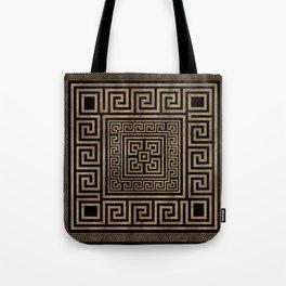 Greek Key Ornament - Greek Meander -Gold on Black Tote Bag