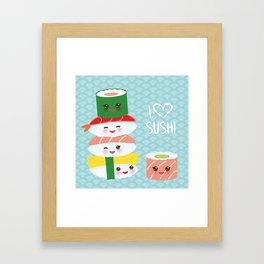I love sushi. Kawaii funny sushi set with pink cheeks and big eyes, emoji. Blue japanese pattern Framed Art Print