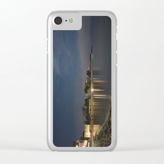Foggy Moonlit Beach Clear iPhone Case