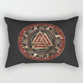 Valknut Symbol Black and Red Leather and gold Rectangular Pillow