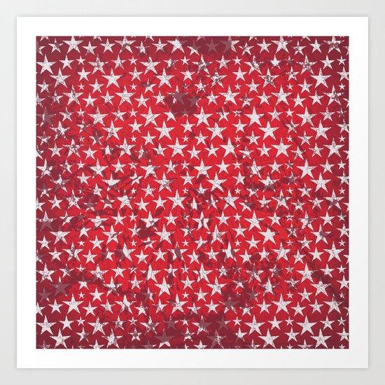 White stars on red grunge textured background  Art Print