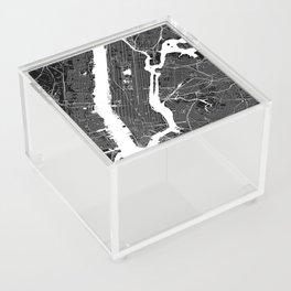 New York City Black And White Map Acrylic Box