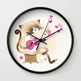 Miko playing ukulele Wall Clock