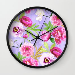 Pink Flowers and Lilac Pansies Pattern On Lavender Wall Clock
