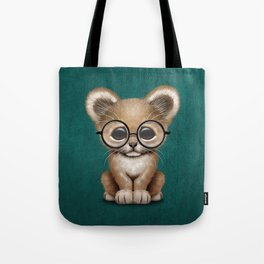 Cute Baby Lion Cub Wearing Glasses on Blue Tote Bag