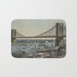Vintage Brooklyn Bridge Illustration (1872) Bath Mat
