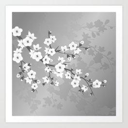 Only Gray Cherry Blossom Art Print