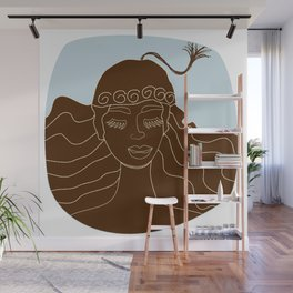 Magical Winter lineart - chocolate and blue Wall Mural