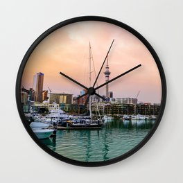 Sunset in Auckland Wall Clock