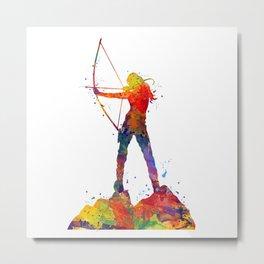 Archery Girl Colorful Watercolor Artwork Metal Print