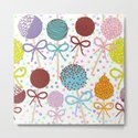seamless pattern Colorful Sweet Cake pops set with bow on white polka dot background by ekaterinap