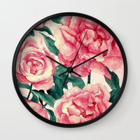 peonies Wall Clocks featuring Peonies by Lynette Sherrard Illustration and Design