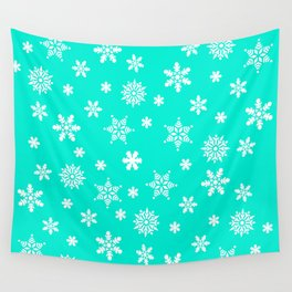 Snow Flurries-Frosty Blue Wall Tapestry