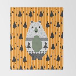 Cute bear, stripes and a fir forest Throw Blanket