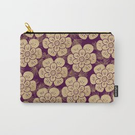 Stylish burgundy faux gold elegant floral Carry-All Pouch