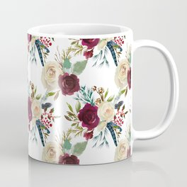 Burgundy ivory green watercolor boho floral pattern Coffee Mug