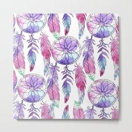 Bohemian violet lavender pink watercolor dreamcatcher Metal Print
