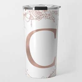 Letter C Rose Gold Pink Initial Monogram Travel Mug
