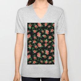 Roses Pattern on Black Background Unisex V-Neck